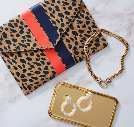Photo of the FRENCH GIRL CHIC$ 99 ($207 value) set including animal print handbag, earrings, necklace on a marble background along with a gold color tray.