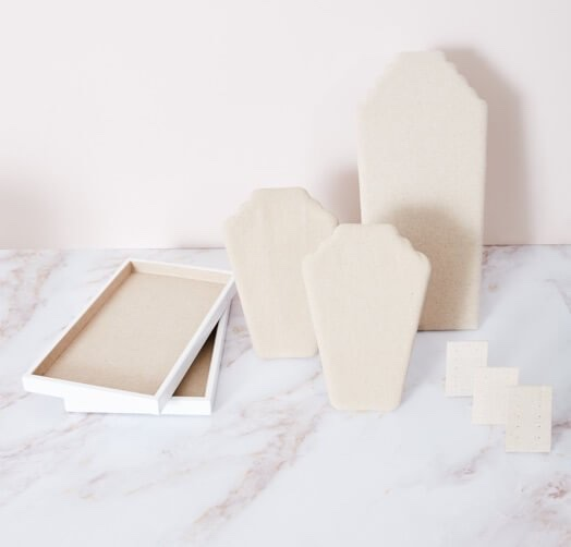Photo of DISPLAY ITEMS $59 set on a white marble table with white background.