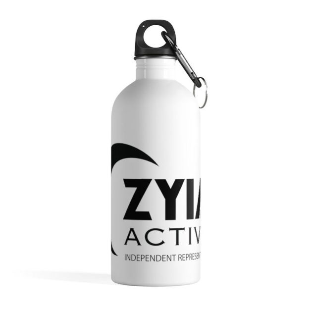 Photo of white and black steel water bottle with Zyia logo printed on it. White background.