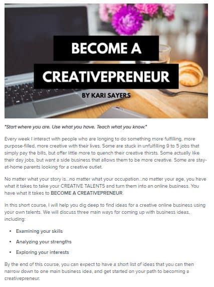 Become a Creativepreneur Class by Kari Sayers