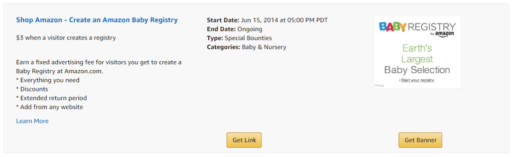 Amazon Baby Registry Bounty
