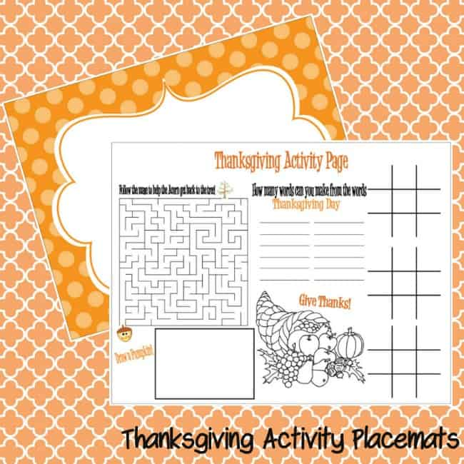Thanksgiving Placemats For Kids Moms Amp Munchkins