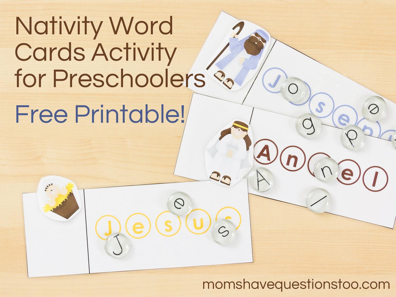 Nativity Word Cards Activity