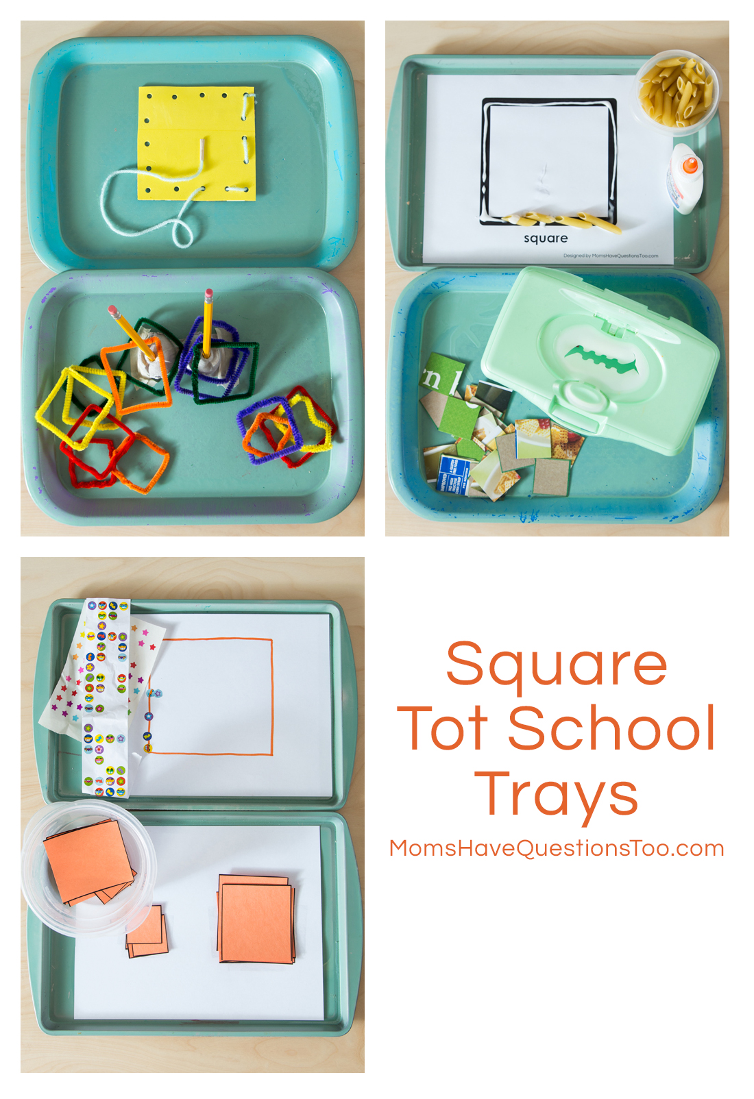 Square Tot Trays For Toddler Learning