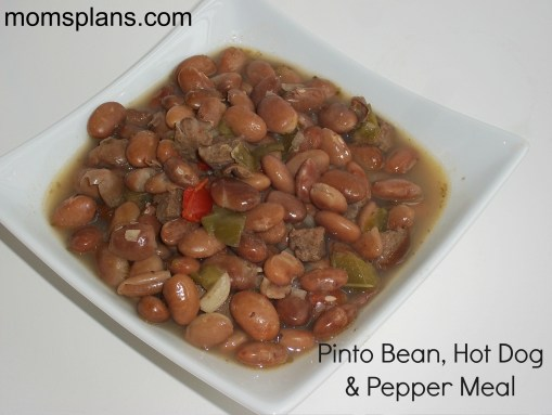 Slow Cooker Pinto Bean, Hot Dog & Pepper Meal