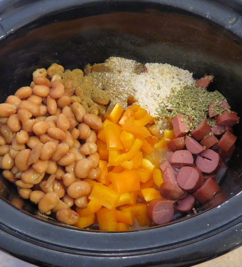Slow Cooker Pinto Beans Hot Dogs Peppers Recipe