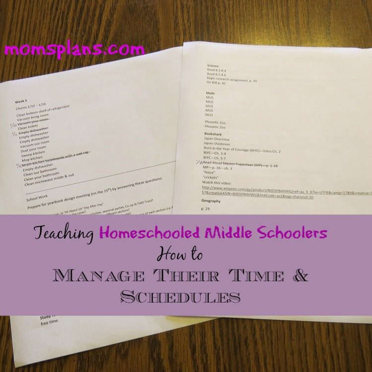 Teaching Homeschooled Middle Schoolers How to Manage Their Time & Schedules