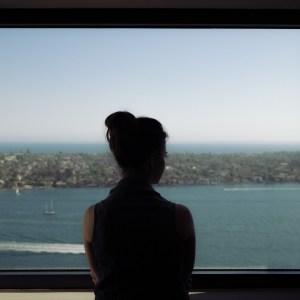 girl,, window, sea.