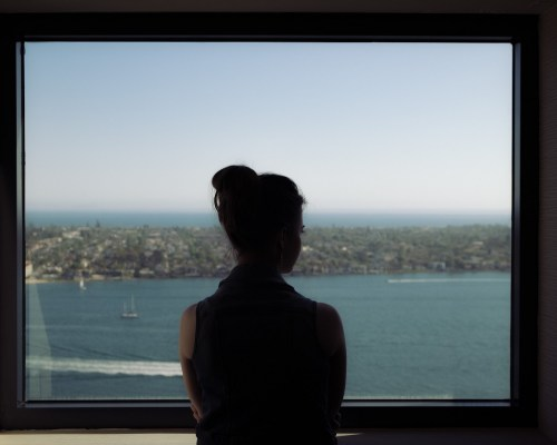 girl,, window, sea.