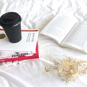 books, coffee, bed