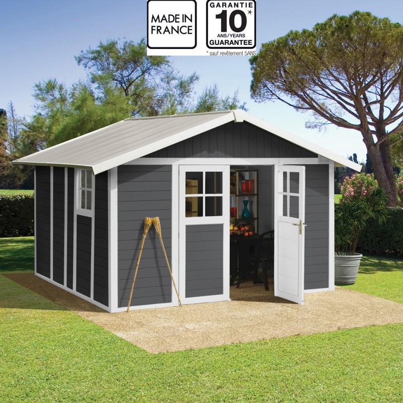 Abri De Jardin En PVC 112m DECO Gris Fonc Et Blanc