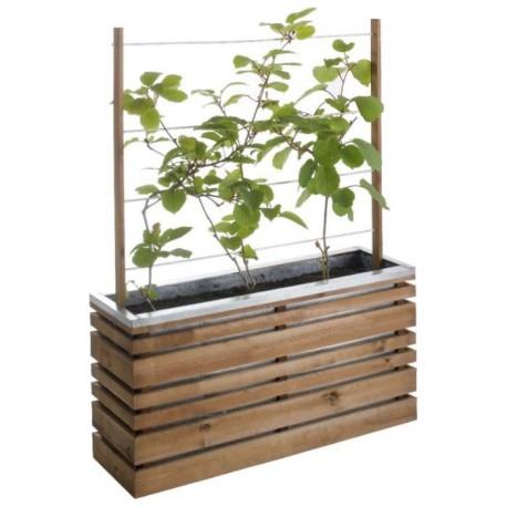 jardiniere avec treillis lignz en bois et acier galvanise 100x30x50 130cm burger