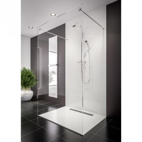 receveur de douche caniveau ep 3 cm 100 x 100 cm aspect pierre blanc u tile