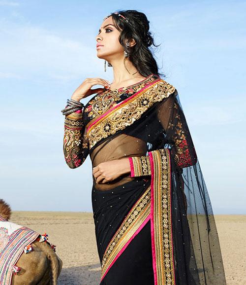 sari indien noir haute couture pas cher