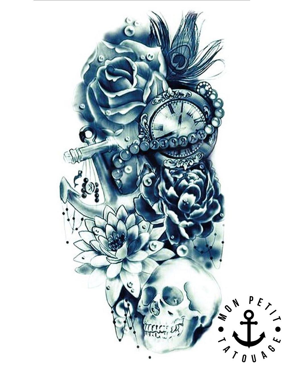 Tatouage tête de mort, ancre, horloge, rose composition réaliste