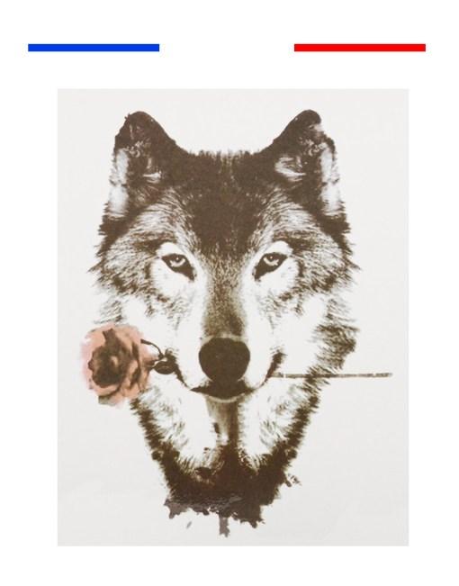 Tatouage Temporaire Loup Rose