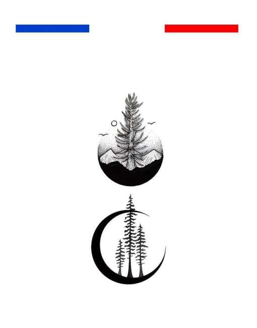 tatouage montagne minimaliste temporaire