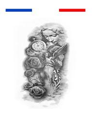 Tatouage composition horloge rose prière