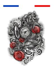 Tatouage composition Boussole Carpe Koi Roses