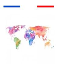 Tatouage carte du monde couleur graphique poignet temporaire