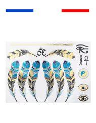 Tatouage Plumes Or & Argent Femme Egypte Temporaire