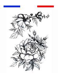 Rose et Fleurs Tatouage Temporaire