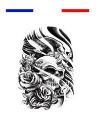 tatouage tete de mort aigle roses realiste bras epaule