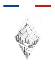 tatouage montagne ski dotwork temporaire