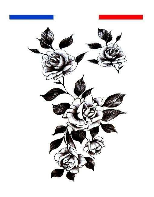 tatouage roses fleurs noir et blanc femme
