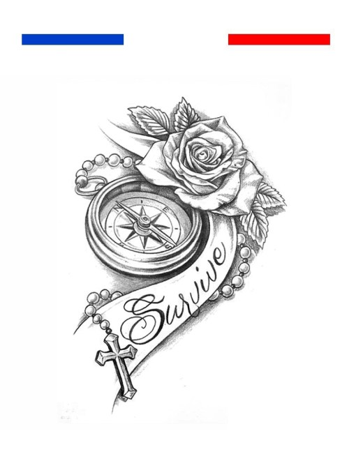 tatouage boussole rose realiste survive