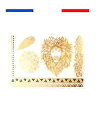 tatouage dore or lion mandala