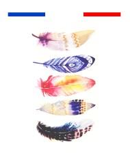 tatouage plume couleur boheme chic