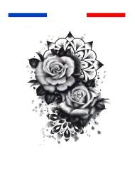 tatouage roses mandala dotwork femme