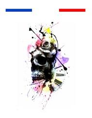 tatouage tete de mort rose horloge graphique
