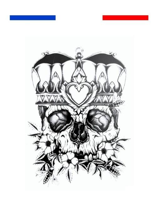 tatouage tete de mort roi couronne