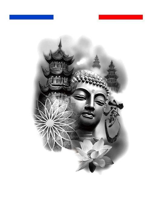 Tatouage temple bouddha lotus mandala