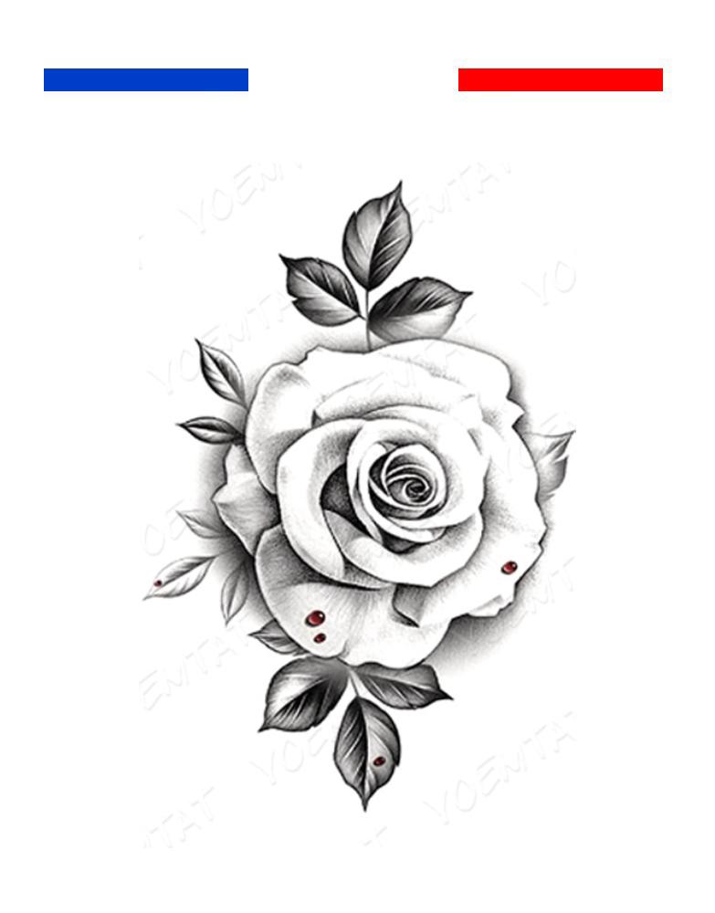 tatouage rose en noir et blanc realiste