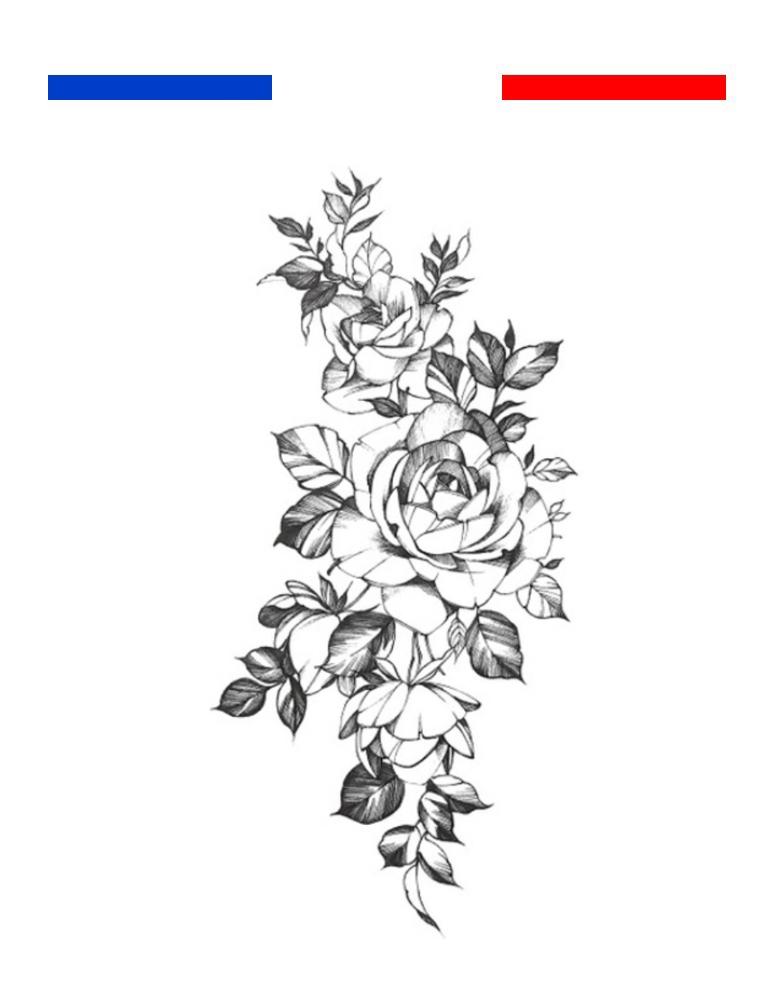 tatouage roses en noir et blanc avant bras