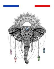 tatouage éléphant mandala nuque femme