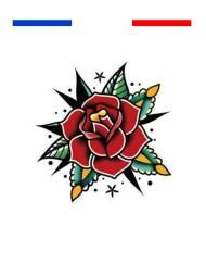 Tatouage temporaire rose old school