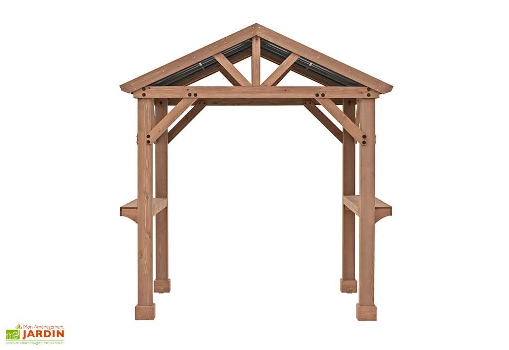 abri pour barbecue en bois de cedre 174 x 245 cm