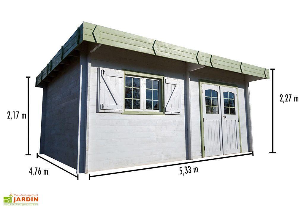 abri de jardin bois 42 mm toit plat bac acier 476x533cm