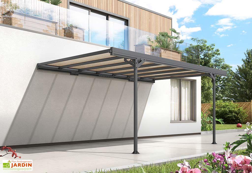 carport adosse en aluminium et polycarbonate mistral 15 m