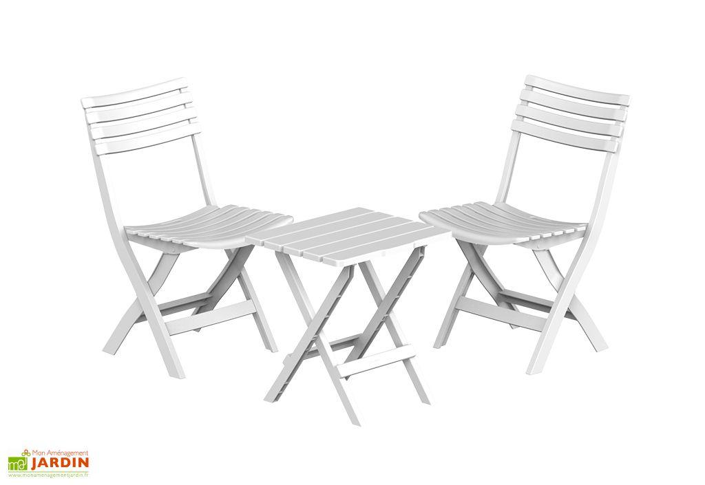 ensemble de jardin en plastique 1 table et 2 chaises pliantes blanc