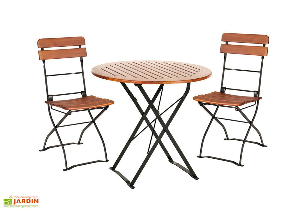 salon de jardin en bois pliable cafe table ronde 2 chaises