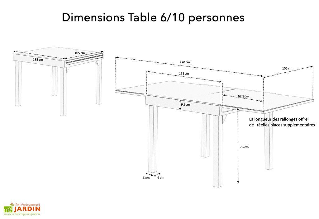 dimensions de la table de jardin en aluminium avec rallonge 6 10 personnes