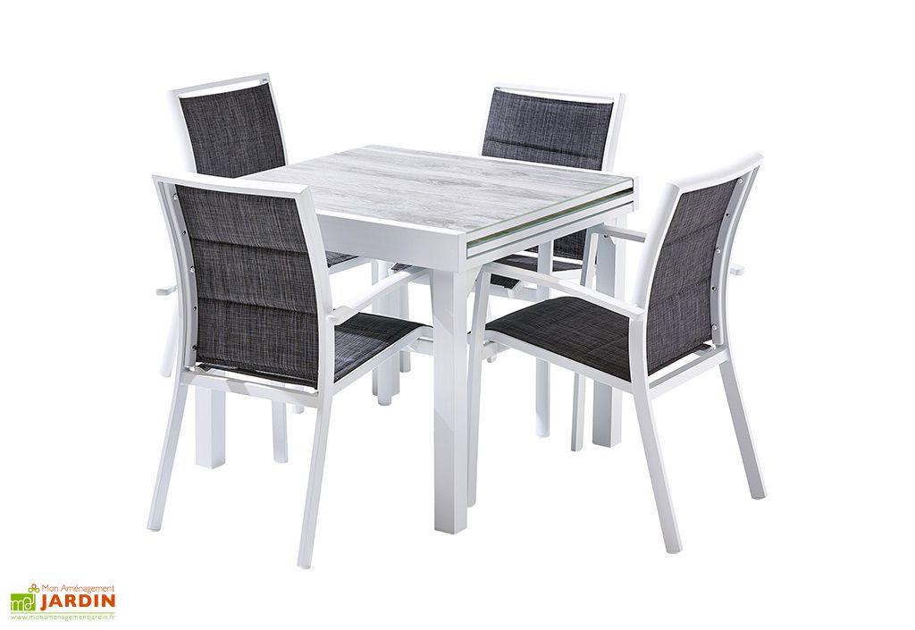 salon de jardin aluminium table extensible 90 180 cm 4 fauteuils
