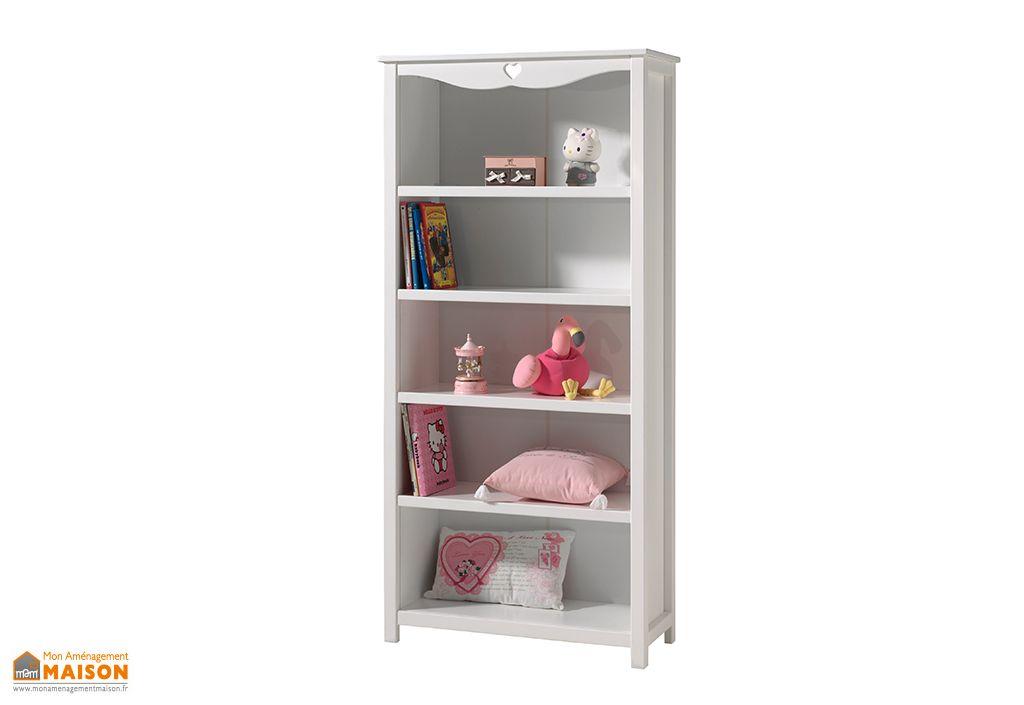 bureau enfant 130 cm et bibliotheque en bois blanc amori