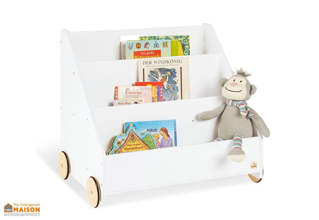 bibliotheque pour enfants avec roulettes lasse en bois laque blanc