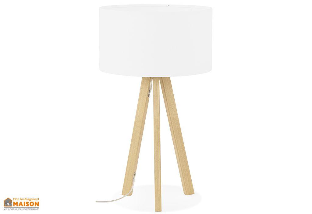 lampe a poser en metal et polyester trivet mini blanc